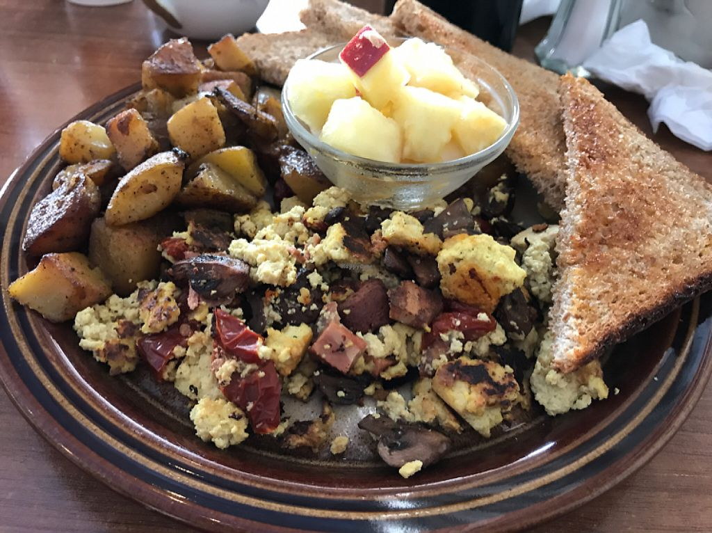 """Photo of Mamalicious  by <a href=""""/members/profile/Shannonlea"""">Shannonlea</a> <br/>Tofu scramble with vegan bacon, mushrooms and sun-dried tomatoes  <br/> May 7, 2017  - <a href='/contact/abuse/image/44868/256904'>Report</a>"""