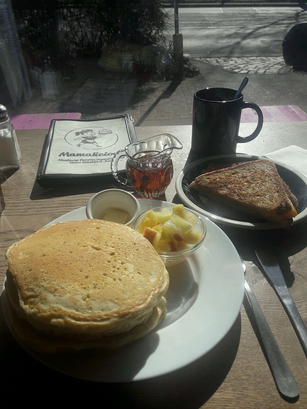 """Photo of Mamalicious  by <a href=""""/members/profile/Scarify"""">Scarify</a> <br/>pancakes and melted cheese sandwich  <br/> March 31, 2018  - <a href='/contact/abuse/image/44868/378678'>Report</a>"""