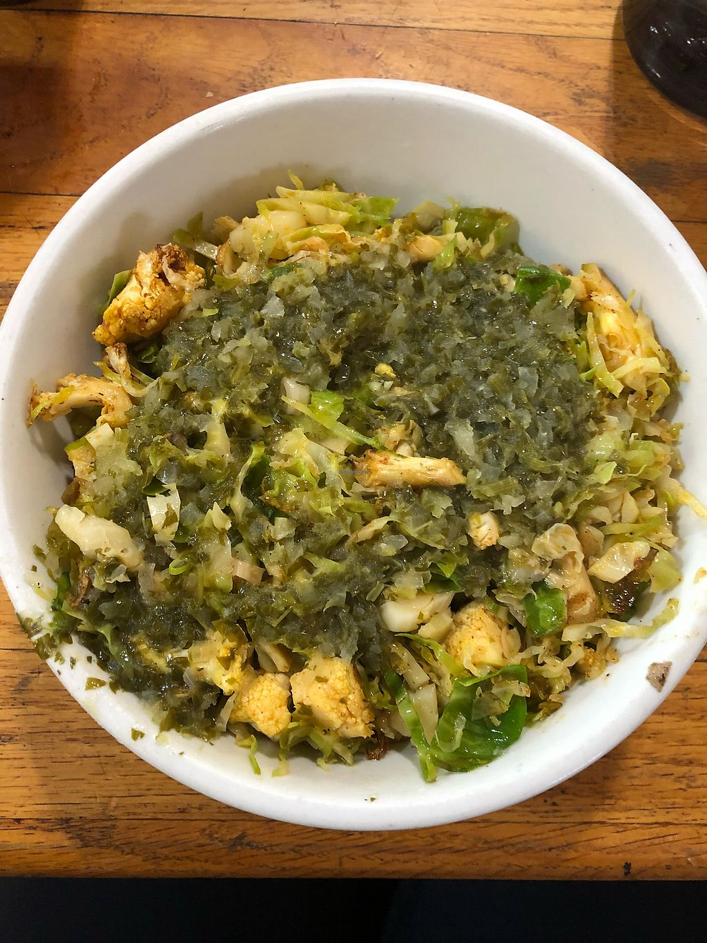 """Photo of The Sentient Bean  by <a href=""""/members/profile/KerryElise"""">KerryElise</a> <br/>Cauli-Brussels bowl. Not the prettiest, but delicious <br/> April 12, 2018  - <a href='/contact/abuse/image/4486/384672'>Report</a>"""
