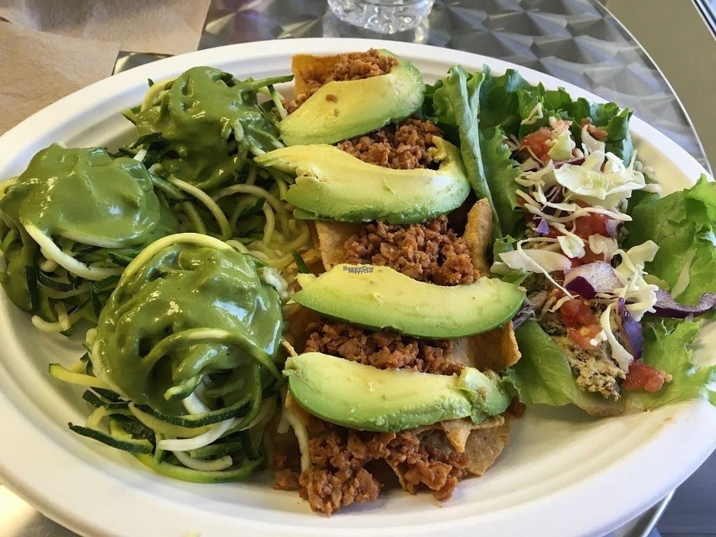 """Photo of Simply Pure  by <a href=""""/members/profile/Tigra220"""">Tigra220</a> <br/>Sampler #1: Zucchini Pasta, Nachos, Chicken Salad Lettuce Wrap <br/> August 15, 2016  - <a href='/contact/abuse/image/44876/168804'>Report</a>"""
