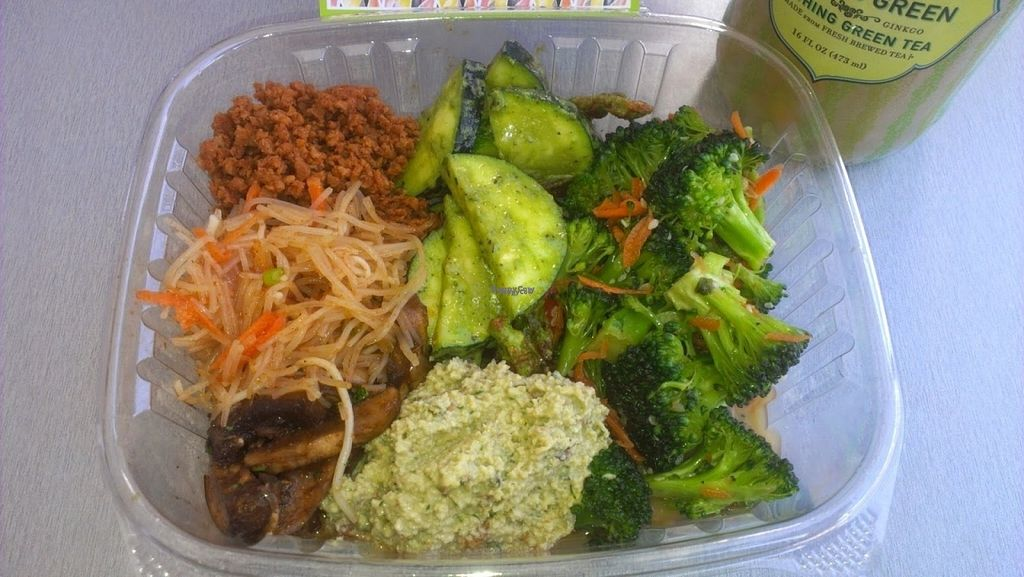 """Photo of Simply Pure  by <a href=""""/members/profile/veggie_htx"""">veggie_htx</a> <br/>Make your own salad: Asian broccoli, pesto and  sundried tomato squash, raw chick'un salad,  marinated mushrooms, taco style TVP,  and raw noodle salad <br/> August 27, 2016  - <a href='/contact/abuse/image/44876/171802'>Report</a>"""