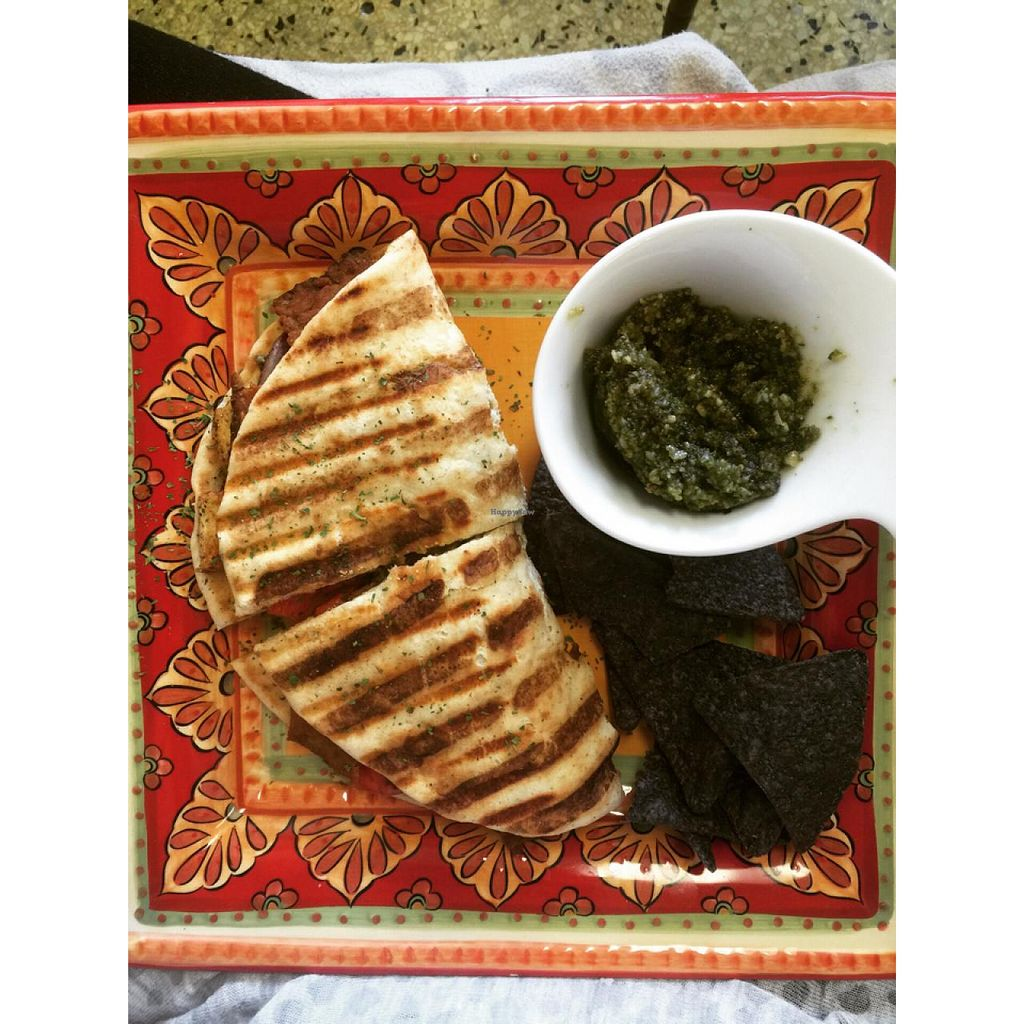 """Photo of Community Cafe  by <a href=""""/members/profile/GenevaJohnson"""">GenevaJohnson</a> <br/>vegan pesto panini with a side of pesto! <br/> June 25, 2015  - <a href='/contact/abuse/image/44890/107249'>Report</a>"""