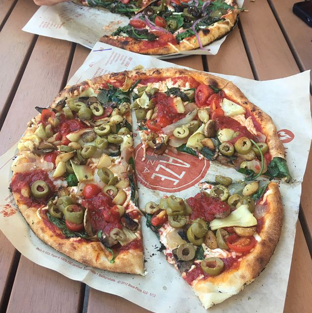 """Photo of Blaze Pizza  by <a href=""""/members/profile/Mariarosekicks"""">Mariarosekicks</a> <br/>vegan cheese and veggie pizza <br/> September 2, 2016  - <a href='/contact/abuse/image/44896/173140'>Report</a>"""