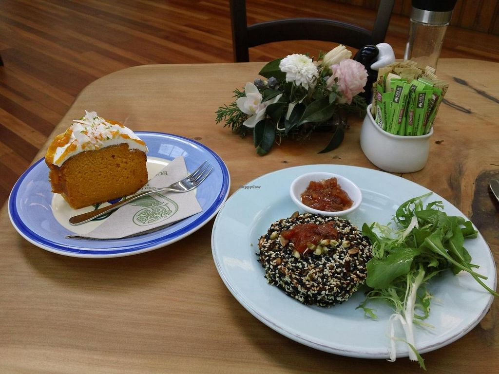 """Photo of Huckleberry Cafe  by <a href=""""/members/profile/cvxmelody"""">cvxmelody</a> <br/>Quinoa pattie, Mango and lime cake with coconut dressing <br/> July 31, 2014  - <a href='/contact/abuse/image/44926/75644'>Report</a>"""