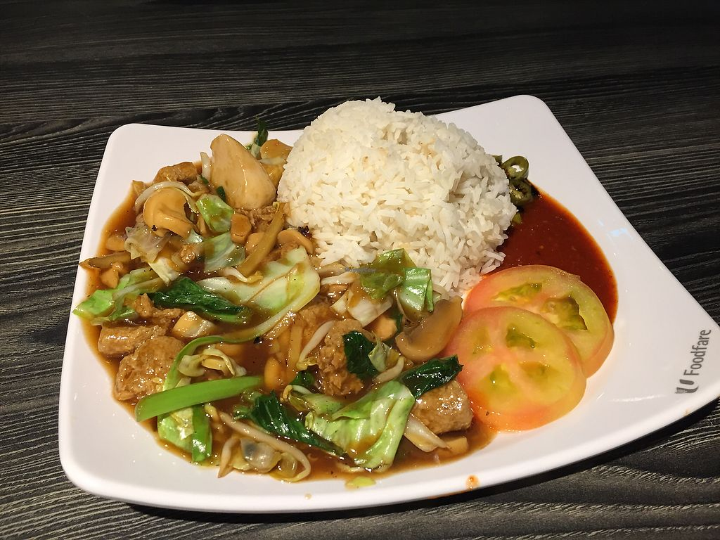 """Photo of Compassion - Ci Yue Vegetarian  by <a href=""""/members/profile/VillVanilje"""">VillVanilje</a> <br/>mock meat, veggies and rice  <br/> July 10, 2017  - <a href='/contact/abuse/image/44948/278585'>Report</a>"""