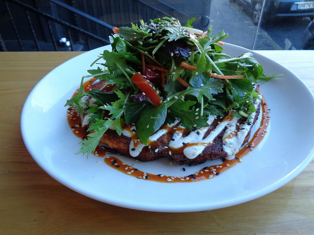 """Photo of Little Bird Organics - Ponsonby  by <a href=""""/members/profile/citizenInsane"""">citizenInsane</a> <br/>chickpea & kimchi savory pancake with greens and cashew aioli <br/> June 22, 2017  - <a href='/contact/abuse/image/44981/272165'>Report</a>"""