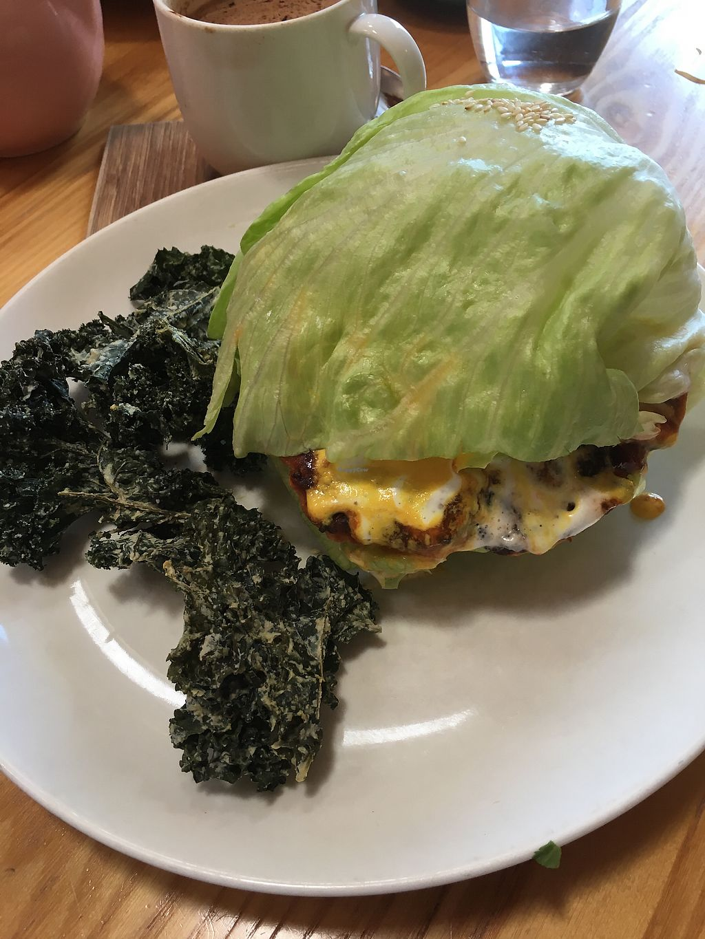 """Photo of Little Bird Organics - Ponsonby  by <a href=""""/members/profile/danielaj"""">danielaj</a> <br/>raw burger with kale chips <br/> August 1, 2017  - <a href='/contact/abuse/image/44981/287621'>Report</a>"""