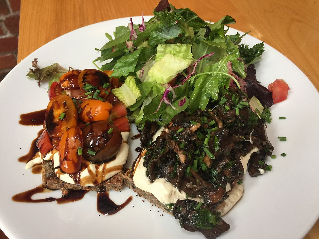 """Photo of Little Bird Organics - Ponsonby  by <a href=""""/members/profile/Tiggy"""">Tiggy</a> <br/>Sprouted bread with tomato and mushroom toppings $17.50 <br/> December 27, 2017  - <a href='/contact/abuse/image/44981/339433'>Report</a>"""