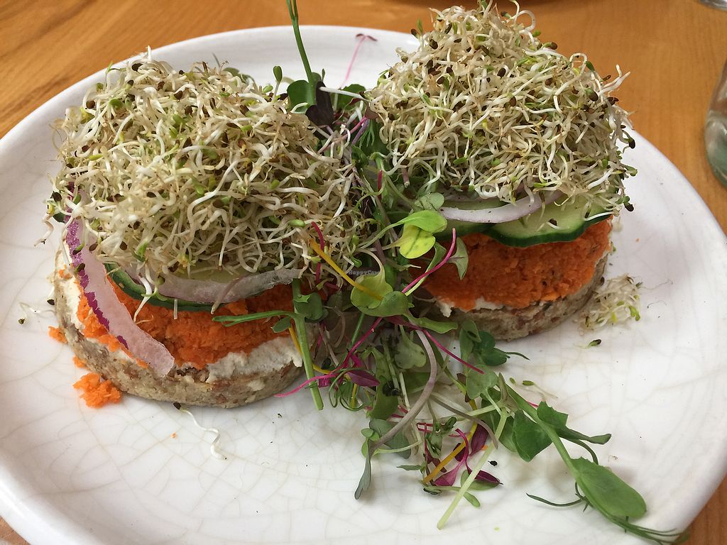 """Photo of Little Bird Organics - Ponsonby  by <a href=""""/members/profile/Tiggy"""">Tiggy</a> <br/>Raw bagel with vegan lox topping $17.50 - smoky <br/> December 27, 2017  - <a href='/contact/abuse/image/44981/339435'>Report</a>"""
