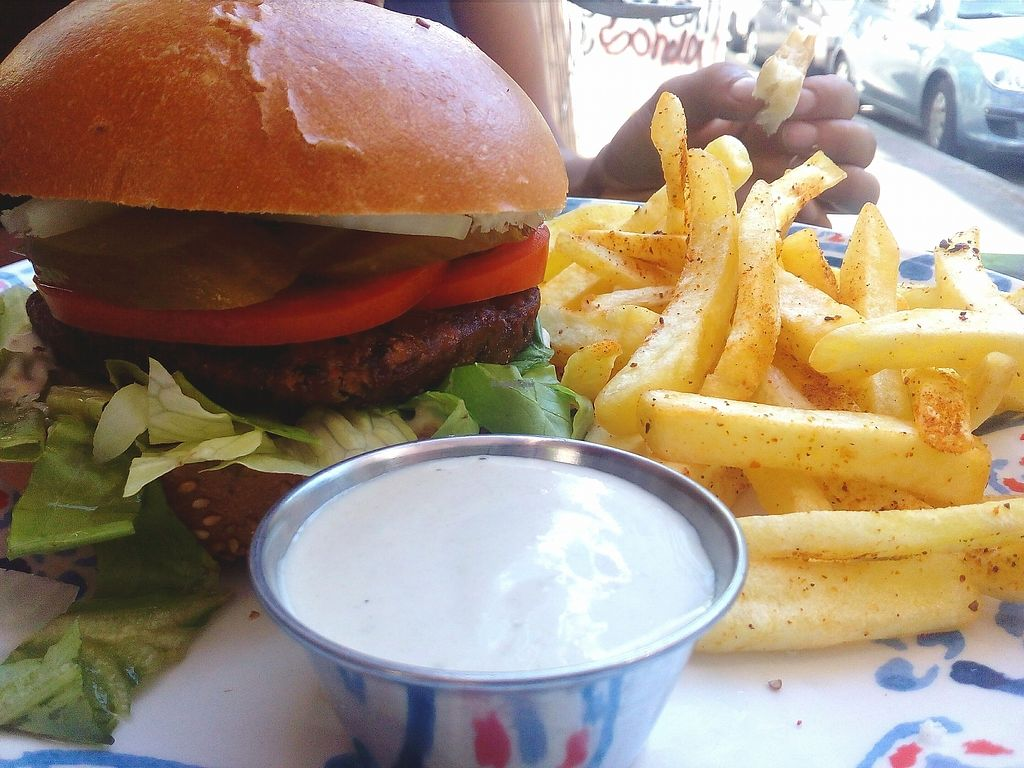 """Photo of Doobie's Vegan Bar  by <a href=""""/members/profile/Lolapb"""">Lolapb</a> <br/>Vegan burger, french fries, vegan mayonnaise <br/> October 2, 2017  - <a href='/contact/abuse/image/44992/311087'>Report</a>"""