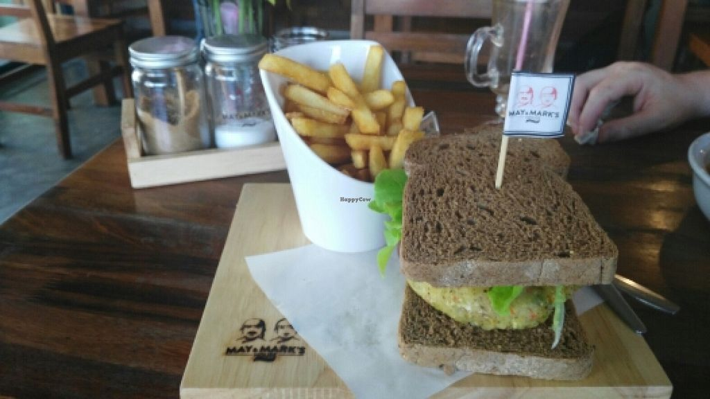 "Photo of May and Mark Restaurant  by <a href=""/members/profile/Selenajoy"">Selenajoy</a> <br/>Veggie burger with vegan brown bread and fries <br/> April 7, 2016  - <a href='/contact/abuse/image/45000/143205'>Report</a>"