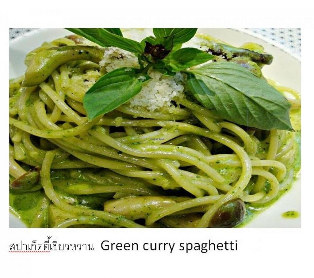 """Photo of CLOSED: Ram Poeng Vegetarian  by <a href=""""/members/profile/Mrs.%20Lungor"""">Mrs. Lungor</a> <br/>Green curry spaghetti <br/> July 11, 2014  - <a href='/contact/abuse/image/45008/73682'>Report</a>"""