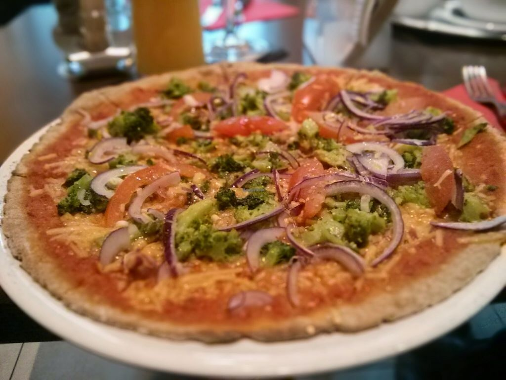"Photo of Pizzeria Casa Piccola  by <a href=""/members/profile/mysub"">mysub</a> <br/>brokkoli, onion and tomato Pizza with spelt dough <br/> August 11, 2015  - <a href='/contact/abuse/image/45021/113133'>Report</a>"
