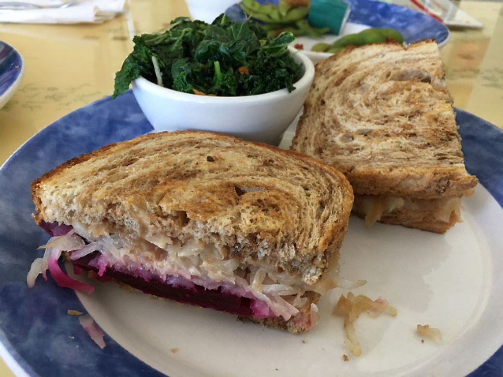 """Photo of Cafe Evergreen  by <a href=""""/members/profile/Lcountertop"""">Lcountertop</a> <br/>Beet Reuben with vegan ranch dressing and a side of steamed (no oil) kale.  <br/> March 17, 2017  - <a href='/contact/abuse/image/45031/237512'>Report</a>"""