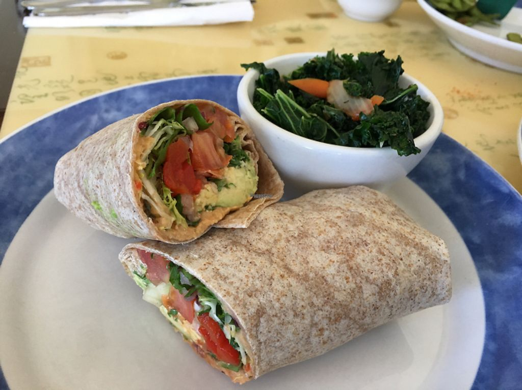 """Photo of Cafe Evergreen  by <a href=""""/members/profile/Lcountertop"""">Lcountertop</a> <br/>Avocado veggie wrap, all vegan with steamed (no oil kale)- YUM <br/> March 17, 2017  - <a href='/contact/abuse/image/45031/237513'>Report</a>"""