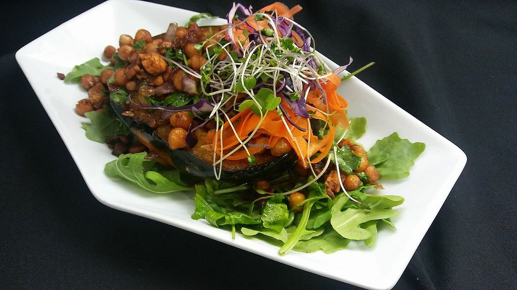 """Photo of Cafe Evergreen  by <a href=""""/members/profile/cafe"""">cafe</a> <br/>Chefs choice for Dinner: #Acorn #Squash #BuddahBowl  #Roasted #Stuffed #Acorn #Squash filled with #SweetPotatoes #ChickPeas #Onion and #Arugula in a #GingerSoy #Broth!! #MeatlessMonday #Vegan & #GlutenFree <br/> October 22, 2017  - <a href='/contact/abuse/image/45031/317511'>Report</a>"""