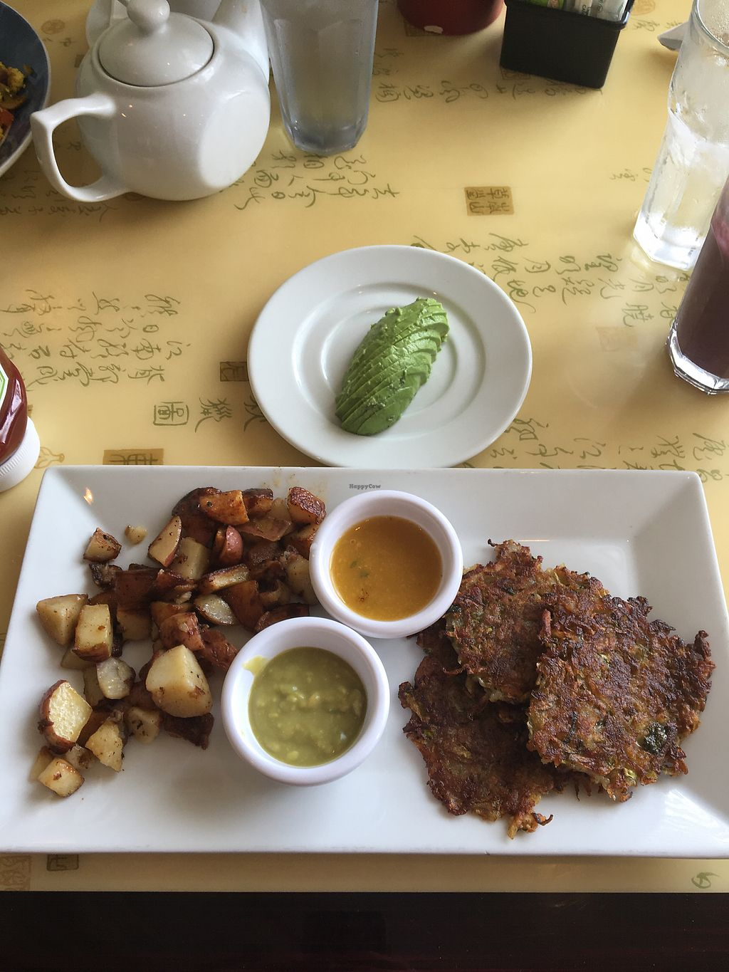 """Photo of Cafe Evergreen  by <a href=""""/members/profile/caittt"""">caittt</a> <br/>Zucchini potato pancakes with a side of avocado  <br/> April 15, 2018  - <a href='/contact/abuse/image/45031/386335'>Report</a>"""