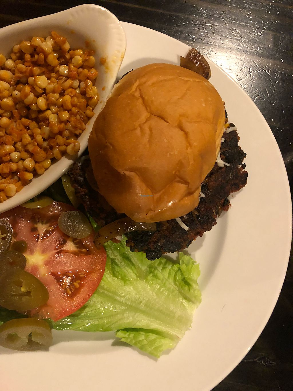 """Photo of Bite  by <a href=""""/members/profile/Jaclynch_eats"""">Jaclynch_eats</a> <br/>Vegan burger with special side of the day <br/> February 17, 2018  - <a href='/contact/abuse/image/45098/360376'>Report</a>"""
