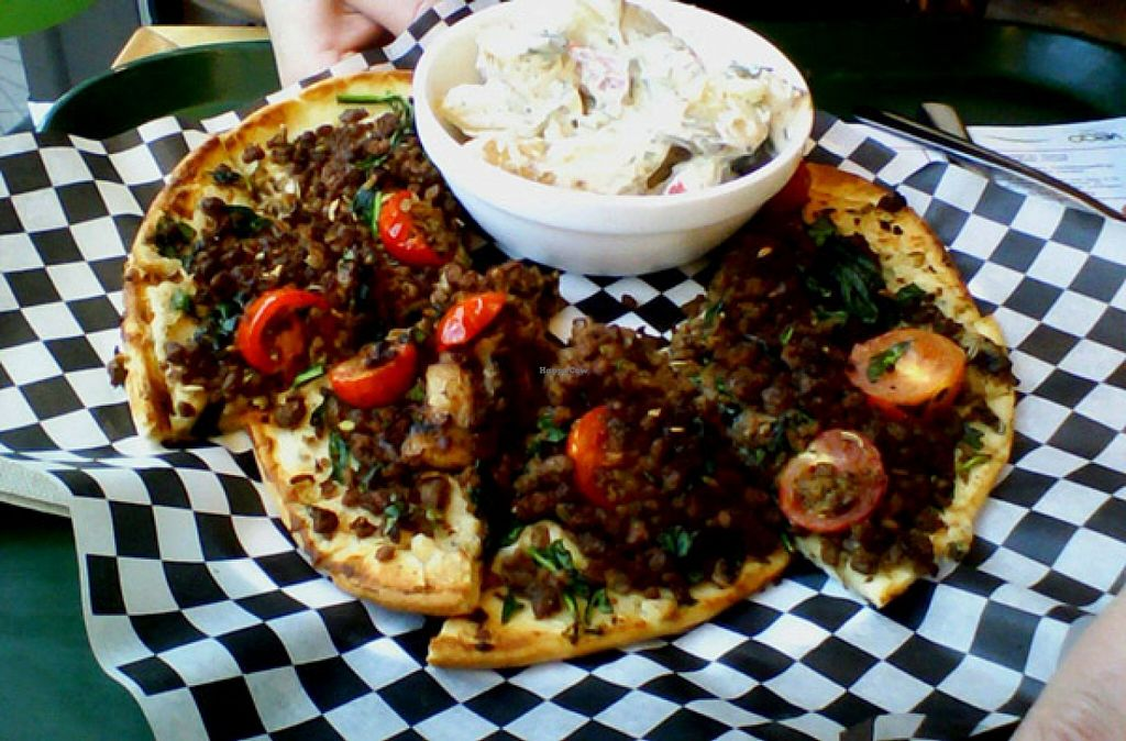 """Photo of Resto Vego  by <a href=""""/members/profile/Babette"""">Babette</a> <br/>Vegan Pizza at the Petit Végo on the ground floor. This one has vegan minced 'meat', vegan cream cheese and lots of fennel seeds. I highly recommend it, but it is extremely filling.   You should also take the (vegan) potato salad. It's amazing <br/> October 27, 2015  - <a href='/contact/abuse/image/45123/122848'>Report</a>"""