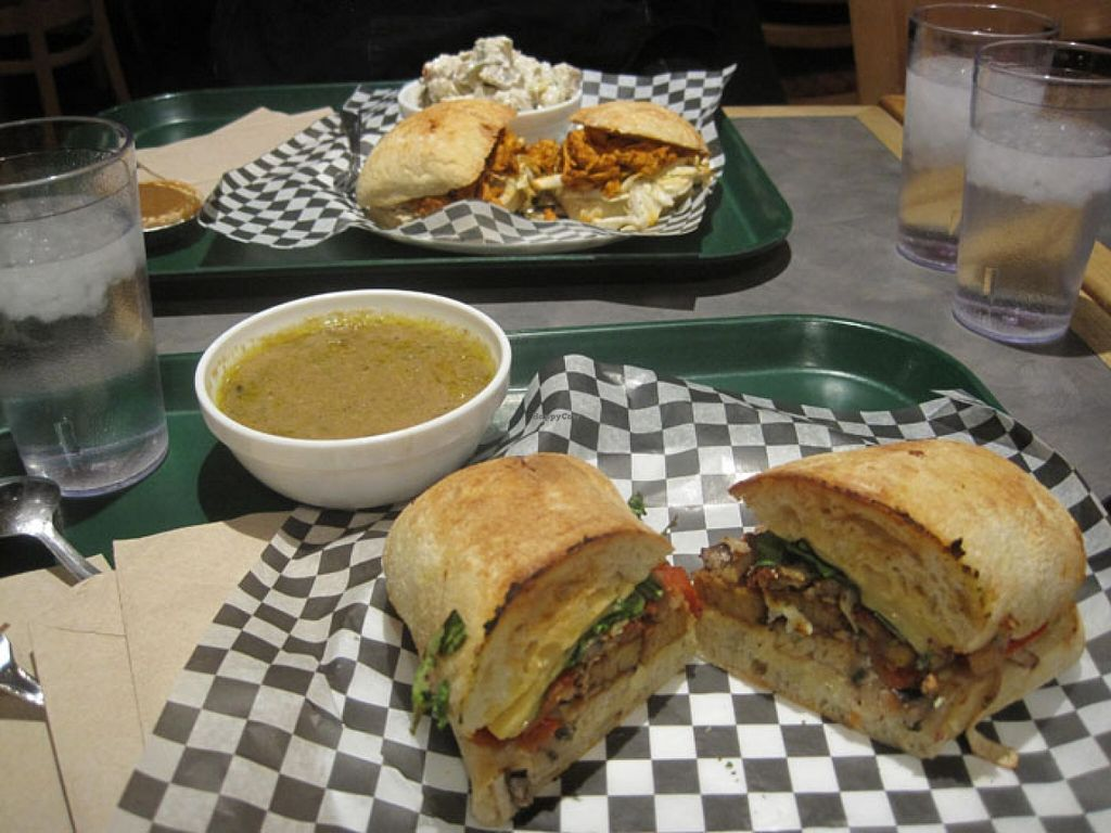 """Photo of Resto Vego  by <a href=""""/members/profile/Babette"""">Babette</a> <br/>Back : potato salad, maple pie and vegan pulled pork sandwich  Front : maple and tempeh sandwich (amazing).  This was ordered at the Petit Végo <br/> March 6, 2016  - <a href='/contact/abuse/image/45123/139006'>Report</a>"""
