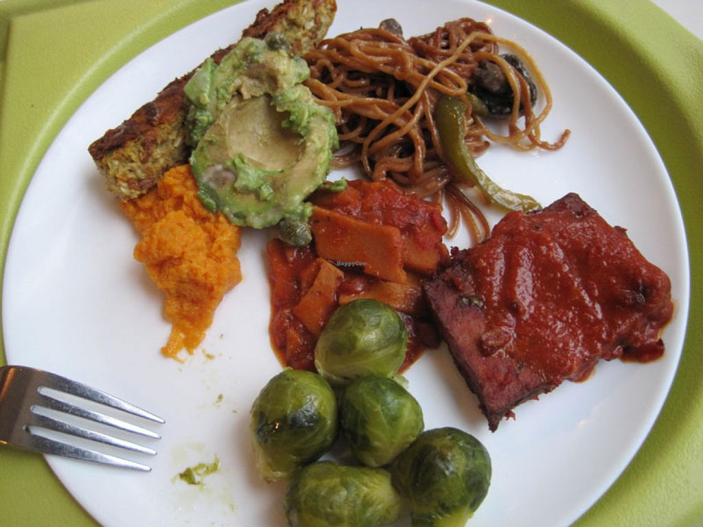 """Photo of CLOSED: Resto Vego - McGill College  by <a href=""""/members/profile/Babette"""">Babette</a> <br/>Buffet plate with Brussels sprouts, BBQ tofu, Thai seitan, garlic spaghetti, avocado, veggie pâté and mashed sweet potatoes. It was very good <br/> June 9, 2016  - <a href='/contact/abuse/image/45132/153021'>Report</a>"""
