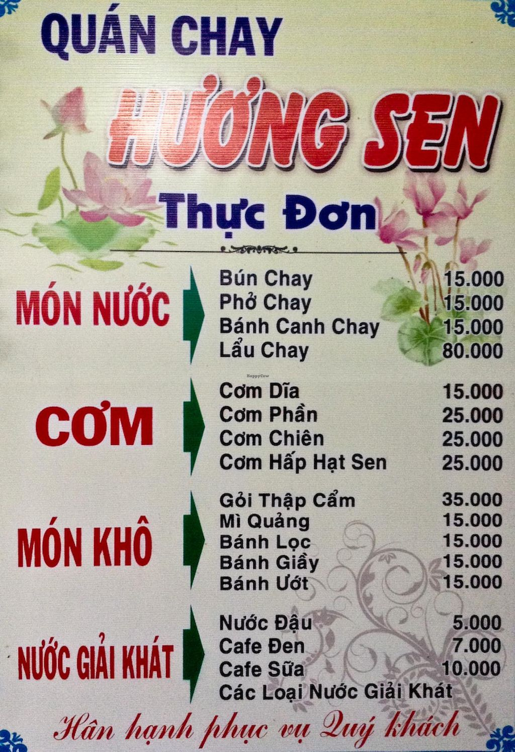 """Photo of Quan Chay Huong Sen  by <a href=""""/members/profile/Ranks42"""">Ranks42</a> <br/>The menu features a range of noodle and rice dish at prices between .75 and 4 USD <br/> February 10, 2014  - <a href='/contact/abuse/image/45137/64156'>Report</a>"""