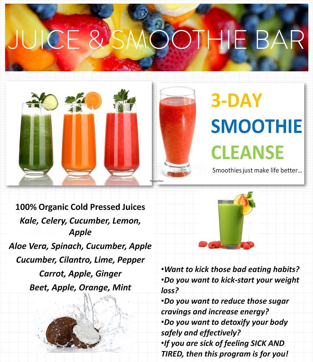 """Photo of Ylive Juice Bar  by <a href=""""/members/profile/PamelaGray"""">PamelaGray</a> <br/>Ylive Cleanse Special <br/> February 5, 2014  - <a href='/contact/abuse/image/45148/63752'>Report</a>"""