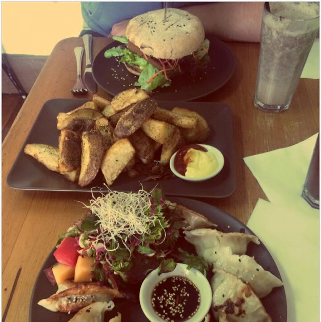 """Photo of CLOSED: Bliss Organic Garden Cafe  by <a href=""""/members/profile/kvanpraet"""">kvanpraet</a> <br/>Bliss Burger + Wedges + Dumplings <br/> December 18, 2015  - <a href='/contact/abuse/image/4516/128977'>Report</a>"""