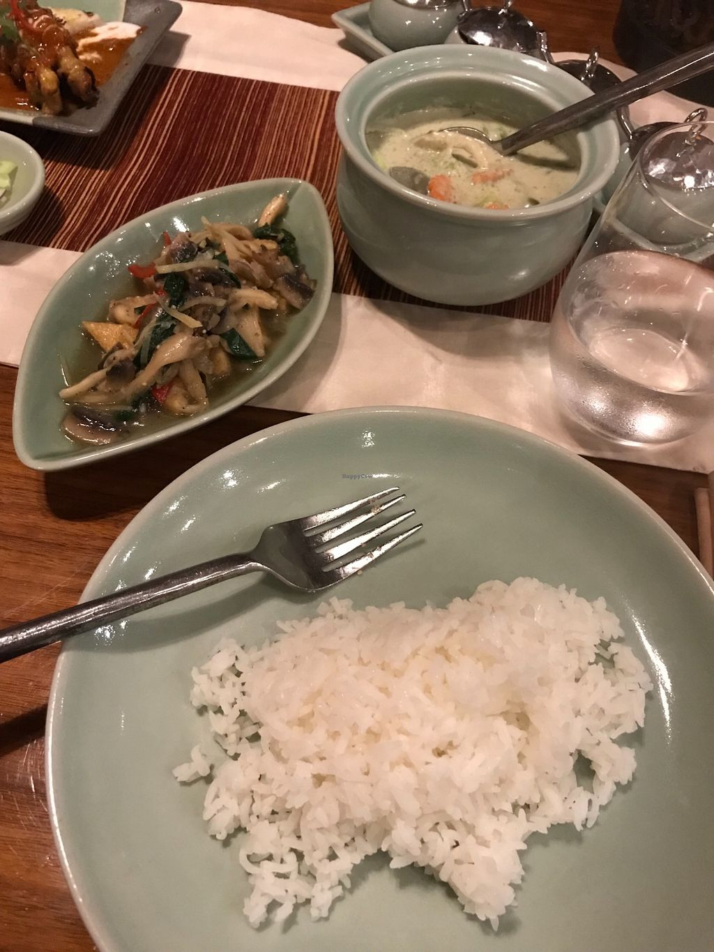 """Photo of Isaan  by <a href=""""/members/profile/AshleighC"""">AshleighC</a> <br/>The tofu and oyster mushrooms from the wok section of the 'healthy' menu and the green vegetable curry from the clay pot section of the 'healthy' menu <br/> February 23, 2018  - <a href='/contact/abuse/image/45182/362894'>Report</a>"""