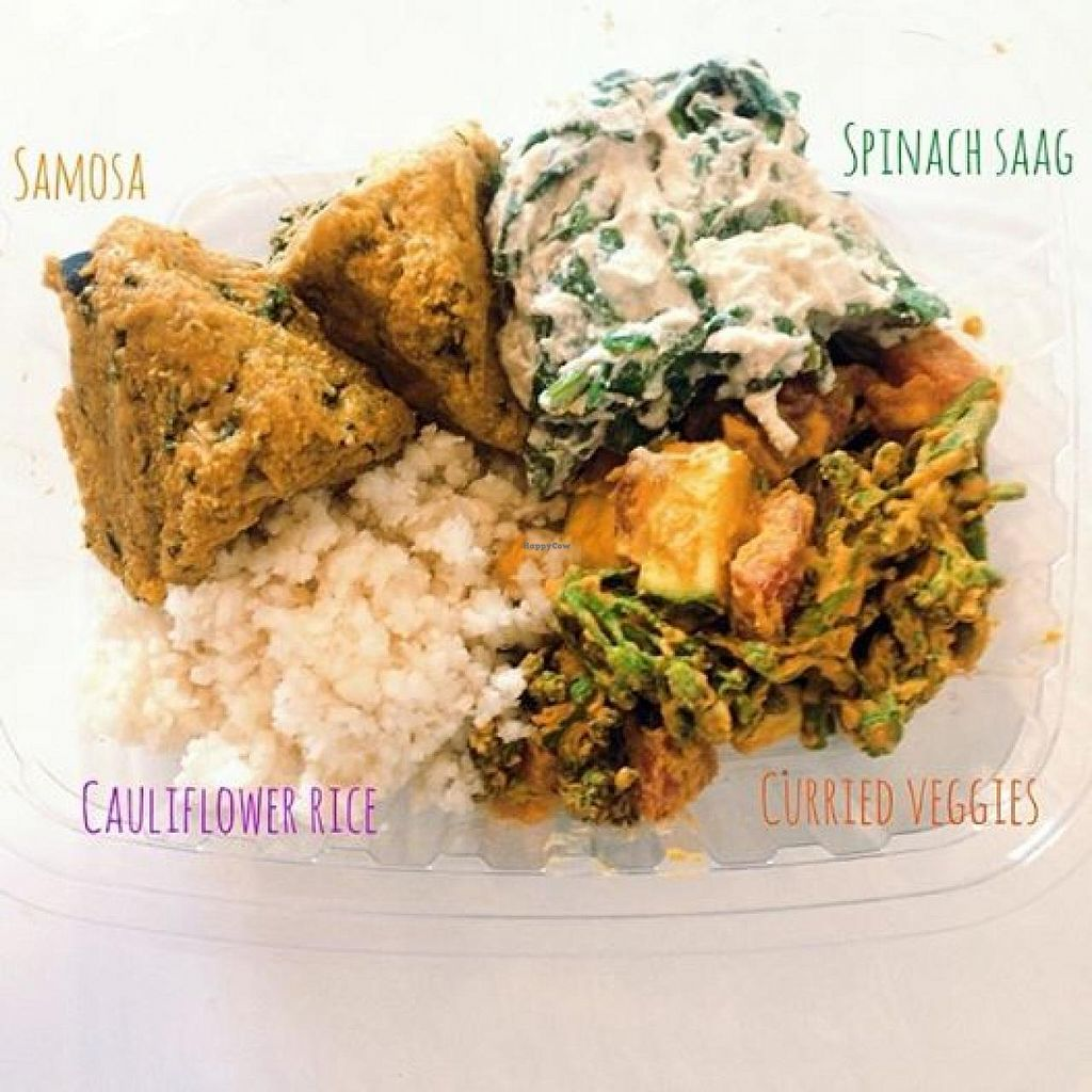 "Photo of Healthy Being Juicery  by <a href=""/members/profile/amirab"">amirab</a> <br/>Raw Indian Bowl: almond veggie samosa, spinach cashew saag, curried veggies, and cauliflower rice <br/> June 26, 2014  - <a href='/contact/abuse/image/45200/72822'>Report</a>"