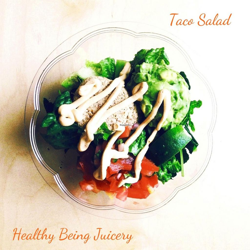 "Photo of Healthy Being Juicery  by <a href=""/members/profile/amirab"">amirab</a> <br/>Fan fav Taco Salad! Walnut crumble, spicy cashew cheese, pico de gallo, guacamole. lime, mixed greens. Nutritious and delicious! <br/> June 26, 2014  - <a href='/contact/abuse/image/45200/72828'>Report</a>"
