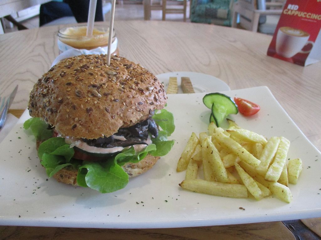 "Photo of Aurelie's Health and Lifestyle Cafe  by <a href=""/members/profile/Wolfmoon"">Wolfmoon</a> <br/>Eastern Soul burger with mushrooms and garnish and chips on the side. Halloumi cheese is substituted by grilled smoked tofu in the vegan option <br/> March 5, 2016  - <a href='/contact/abuse/image/45242/138814'>Report</a>"