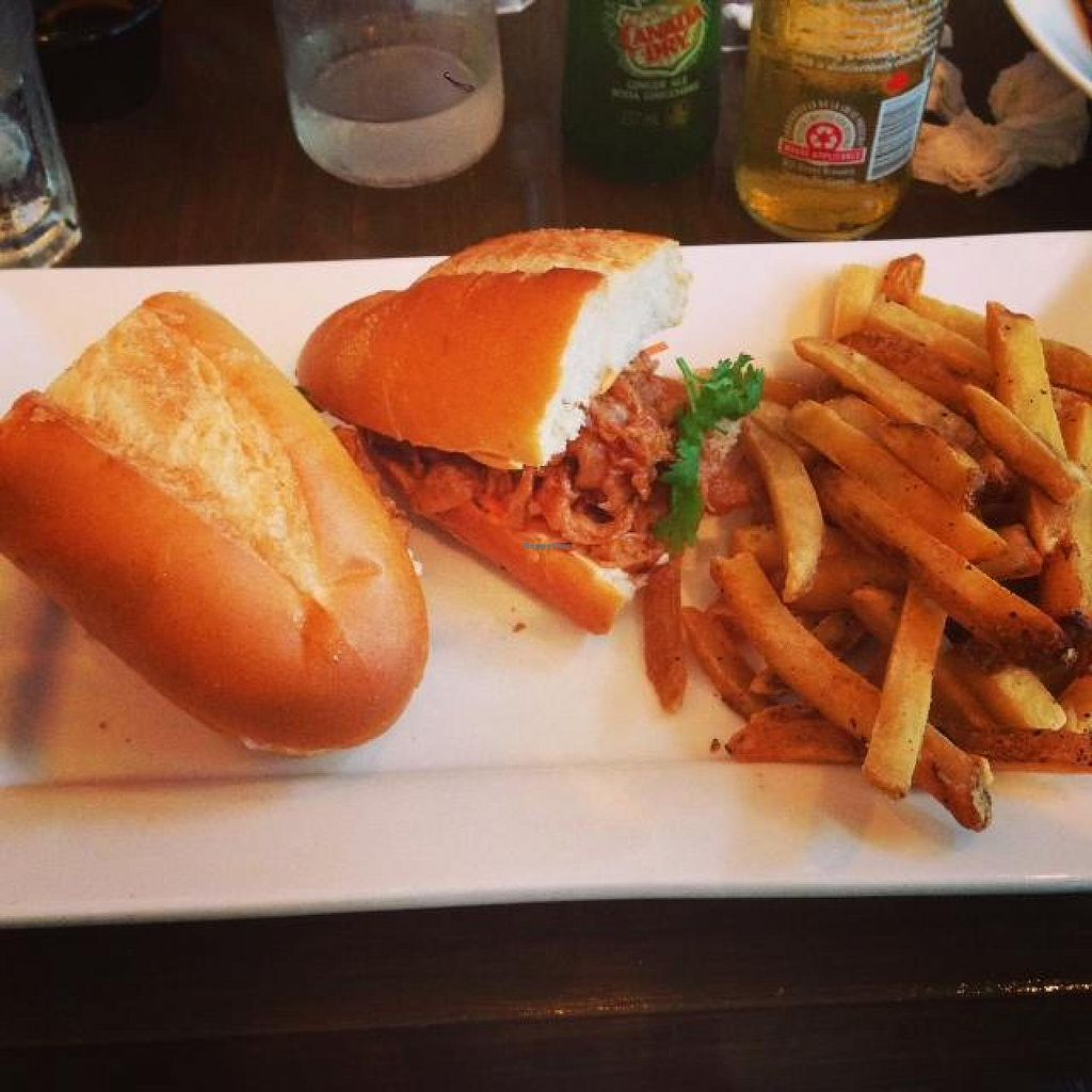 Photo of Grasshopper Restaurant - College St  by VeganGuyTO <br/>Pulled 'Pork' Sandwich at Grasshopper <br/> August 7, 2014  - <a href='/contact/abuse/image/45254/76244'>Report</a>