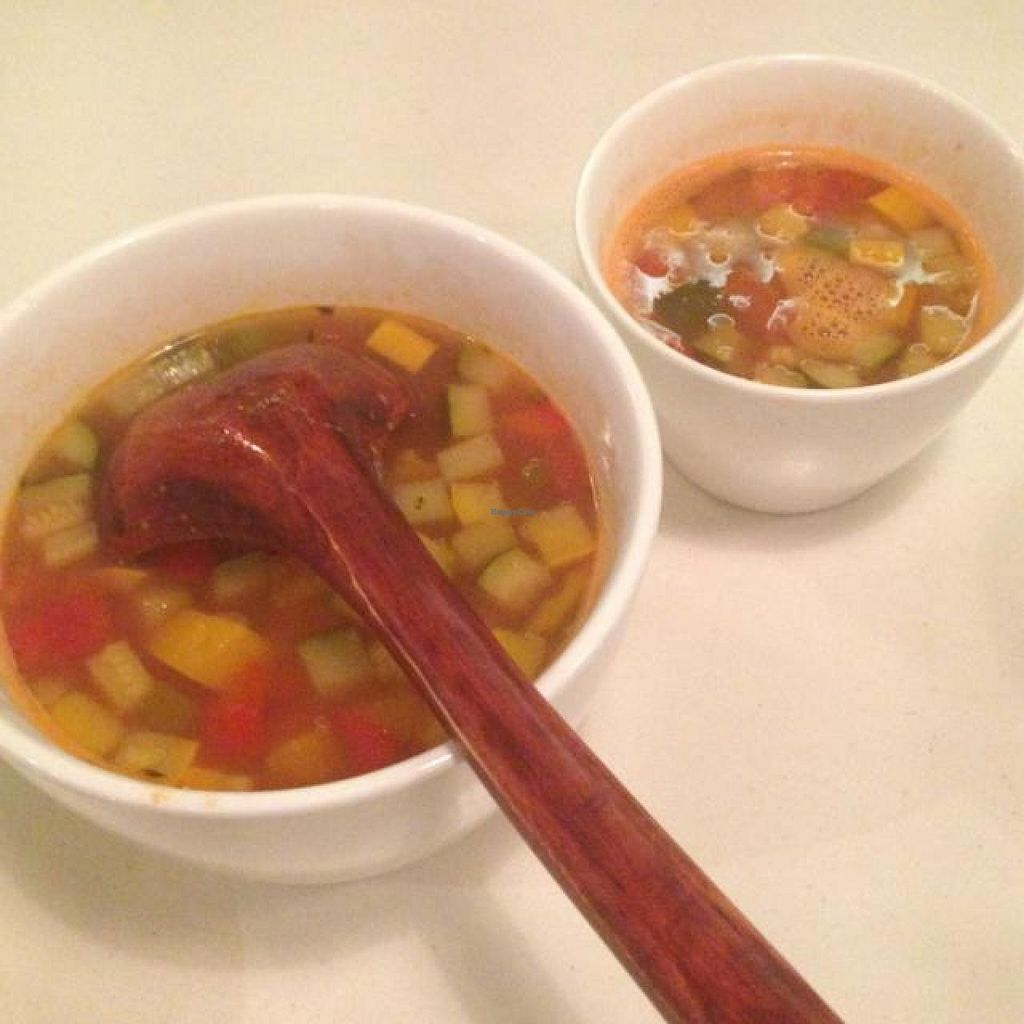 """Photo of Pure and Whole - Shanghai Centre  by <a href=""""/members/profile/AndyT"""">AndyT</a> <br/>Vegetable soup - large (serves 2) and small size <br/> September 4, 2014  - <a href='/contact/abuse/image/45276/78960'>Report</a>"""