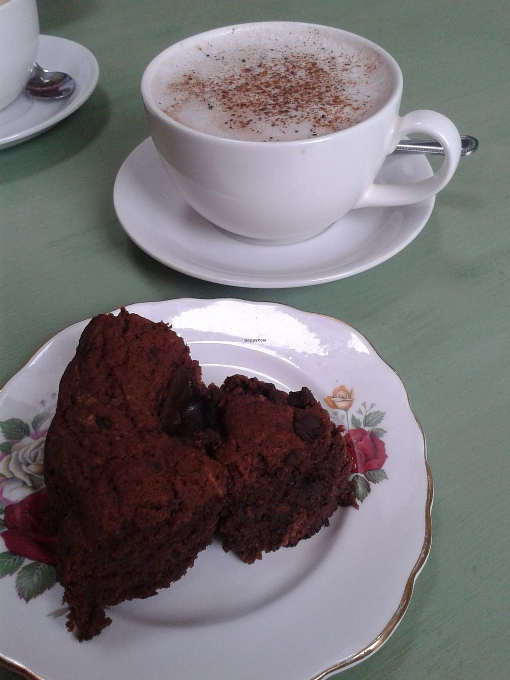 """Photo of The Hub at Healthy Spirit  by <a href=""""/members/profile/jennyc32"""">jennyc32</a> <br/>Vegan chocolate courgette cake, and almond milk hot chocolate <br/> April 28, 2015  - <a href='/contact/abuse/image/45286/100538'>Report</a>"""