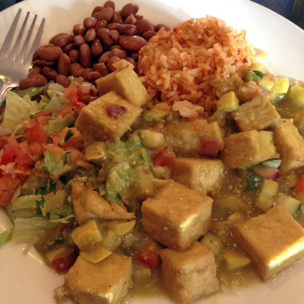 "Photo of Adelitas Taqueria  by <a href=""/members/profile/katlove"">katlove</a> <br/>CHILE VERDE TOFU PLATE <br/> August 21, 2015  - <a href='/contact/abuse/image/45311/114620'>Report</a>"