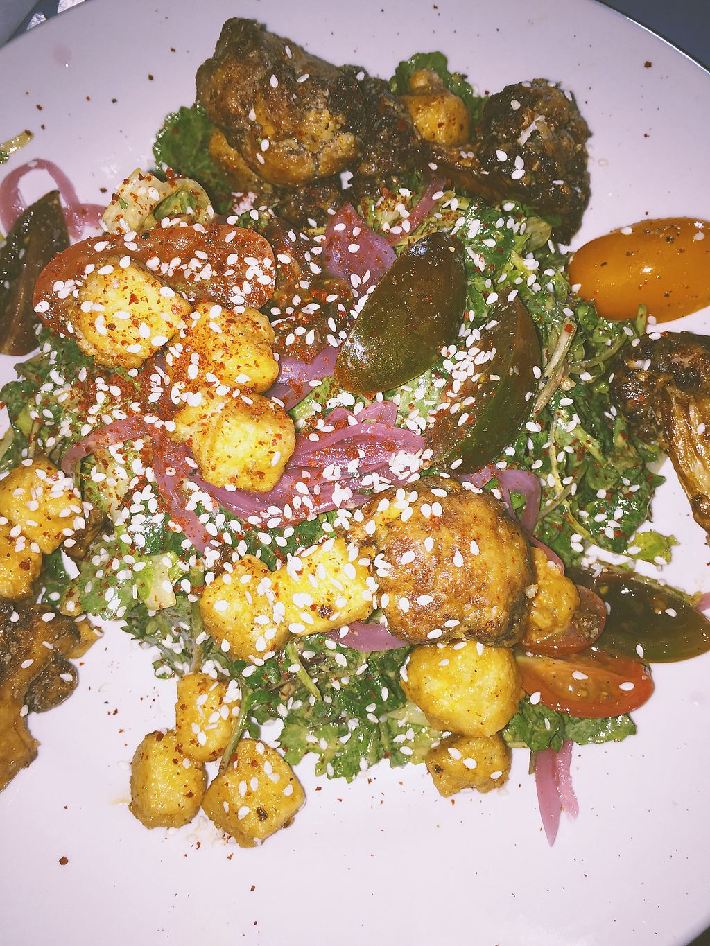 """Photo of Sneaky Pickle  by <a href=""""/members/profile/terrywashere"""">terrywashere</a> <br/>buffalo fried tofu salad.  <br/> March 2, 2018  - <a href='/contact/abuse/image/45345/365917'>Report</a>"""