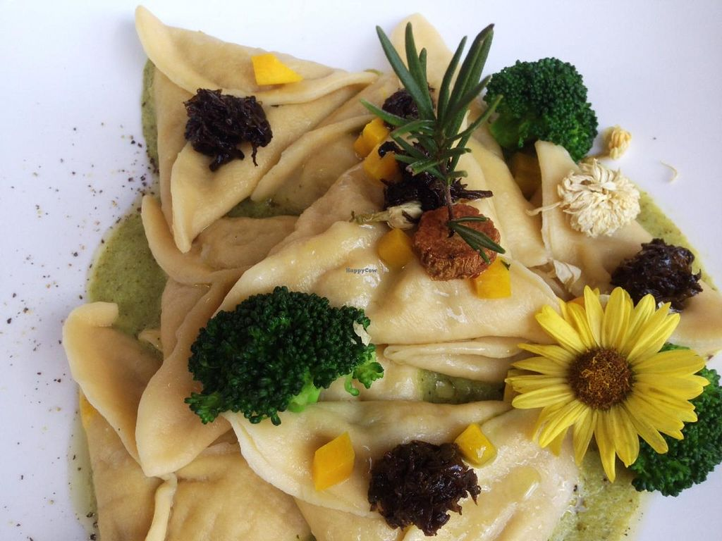 """Photo of Hungry Buddha  by <a href=""""/members/profile/samsara"""">samsara</a> <br/>vegan ravioli filled with barley and pumpkin on broccoli foam <br/> March 5, 2015  - <a href='/contact/abuse/image/45366/94978'>Report</a>"""