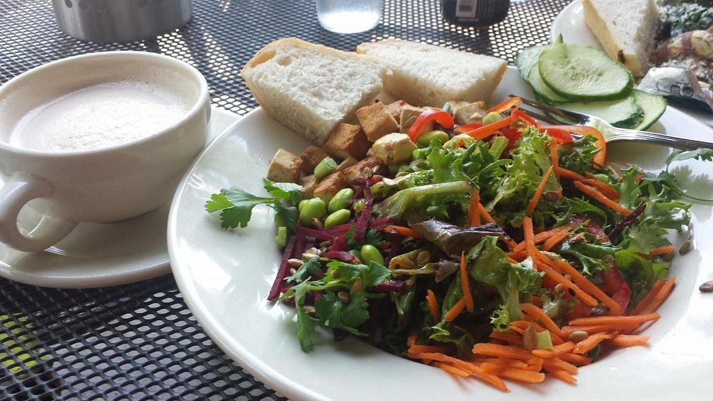 """Photo of French Meadow Bakery and Cafe - Lyndale Ave  by <a href=""""/members/profile/EverydayTastiness"""">EverydayTastiness</a> <br/>soy chai with a spa salad <br/> September 12, 2014  - <a href='/contact/abuse/image/4537/79741'>Report</a>"""