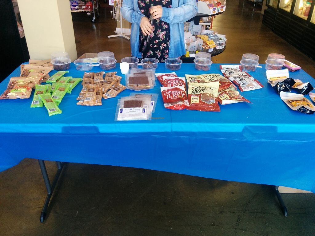 """Photo of Animal Place's Vegan Republic  by <a href=""""/members/profile/MizzB"""">MizzB</a> <br/>Vegan Jerky Taste off samples table. Delicious samples of various vegan jerky sold in store. Who knew there were so many, and so good? <br/> July 30, 2017  - <a href='/contact/abuse/image/45427/286560'>Report</a>"""