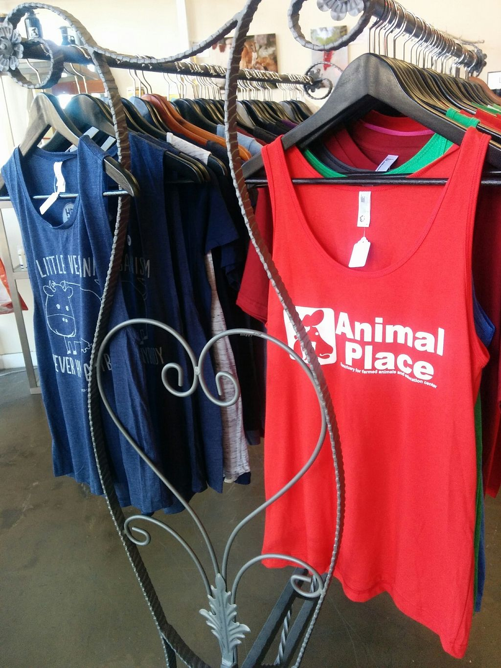 """Photo of Animal Place's Vegan Republic  by <a href=""""/members/profile/MizzB"""">MizzB</a> <br/>T shirts with a message <br/> July 30, 2017  - <a href='/contact/abuse/image/45427/286561'>Report</a>"""