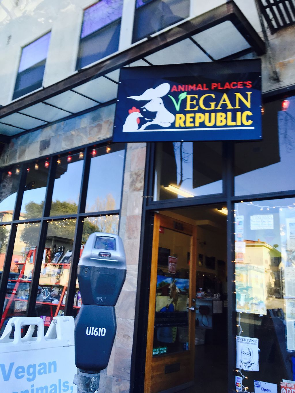 """Photo of Animal Place's Vegan Republic  by <a href=""""/members/profile/dvcucsc"""">dvcucsc</a> <br/>Metered parking out front <br/> February 6, 2018  - <a href='/contact/abuse/image/45427/355515'>Report</a>"""