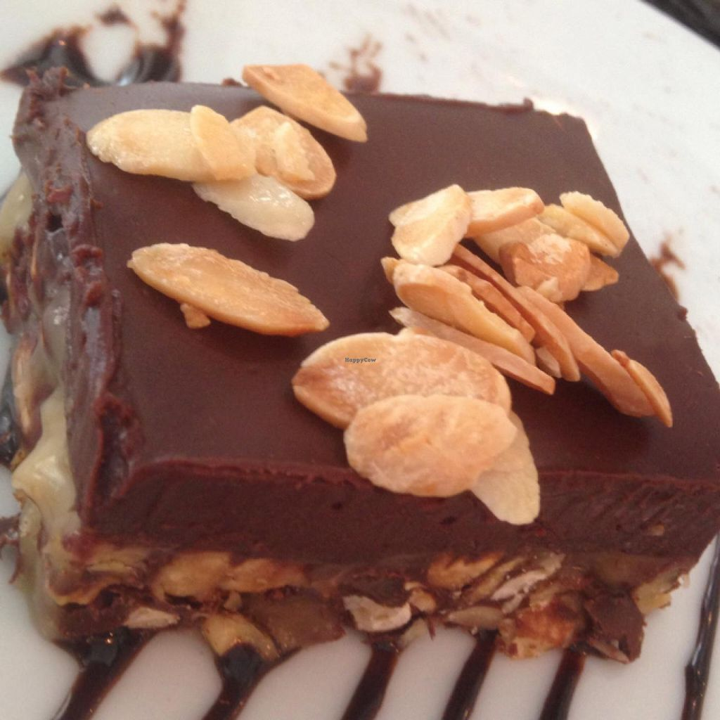 """Photo of Hashachen Bistro  by <a href=""""/members/profile/Brok%20O.%20Lee"""">Brok O. Lee</a> <br/>Vegan Marquise: with ganache and salted caramel cream.  <br/> March 27, 2015  - <a href='/contact/abuse/image/45467/97126'>Report</a>"""