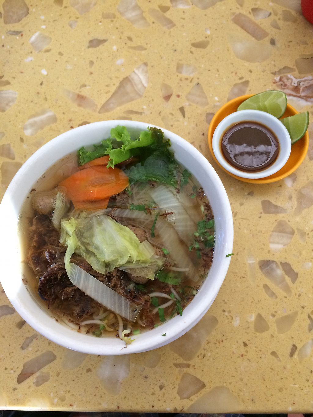"""Photo of Sir Si Pha  by <a href=""""/members/profile/Astrocake"""">Astrocake</a> <br/>Noodle soup with shredded mock meat and meatballs  <br/> December 17, 2017  - <a href='/contact/abuse/image/45502/336350'>Report</a>"""