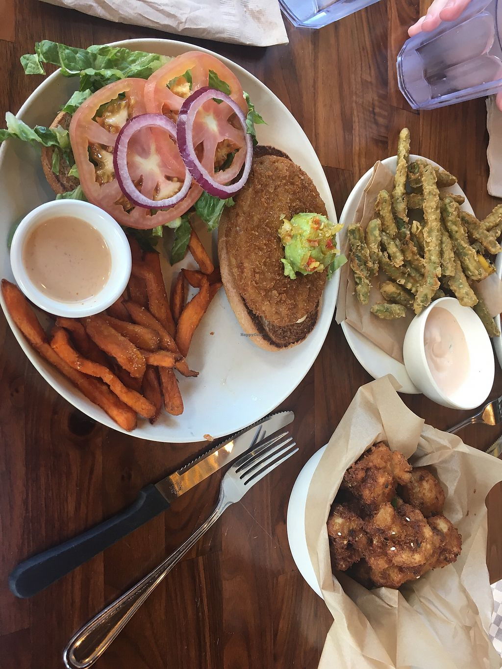 """Photo of Veggie Grill  by <a href=""""/members/profile/mettepalludan"""">mettepalludan</a> <br/>Santa Fe Crispy Chicken + Green Bean stack and fried cauliflower <br/> March 13, 2018  - <a href='/contact/abuse/image/45515/370322'>Report</a>"""