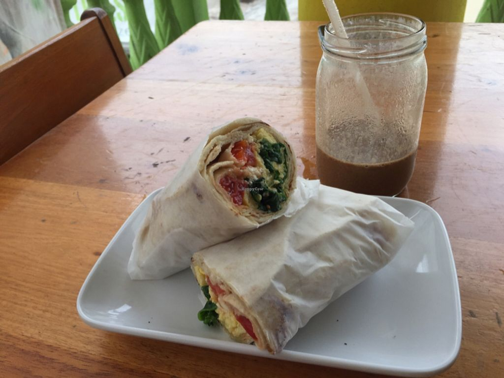 """Photo of CLOSED: Roots Wraps and Smoothies  by <a href=""""/members/profile/EileenOn"""">EileenOn</a> <br/>Wrap - Egg, Spinach, Feta, Tomato  <br/> November 15, 2015  - <a href='/contact/abuse/image/45522/125092'>Report</a>"""