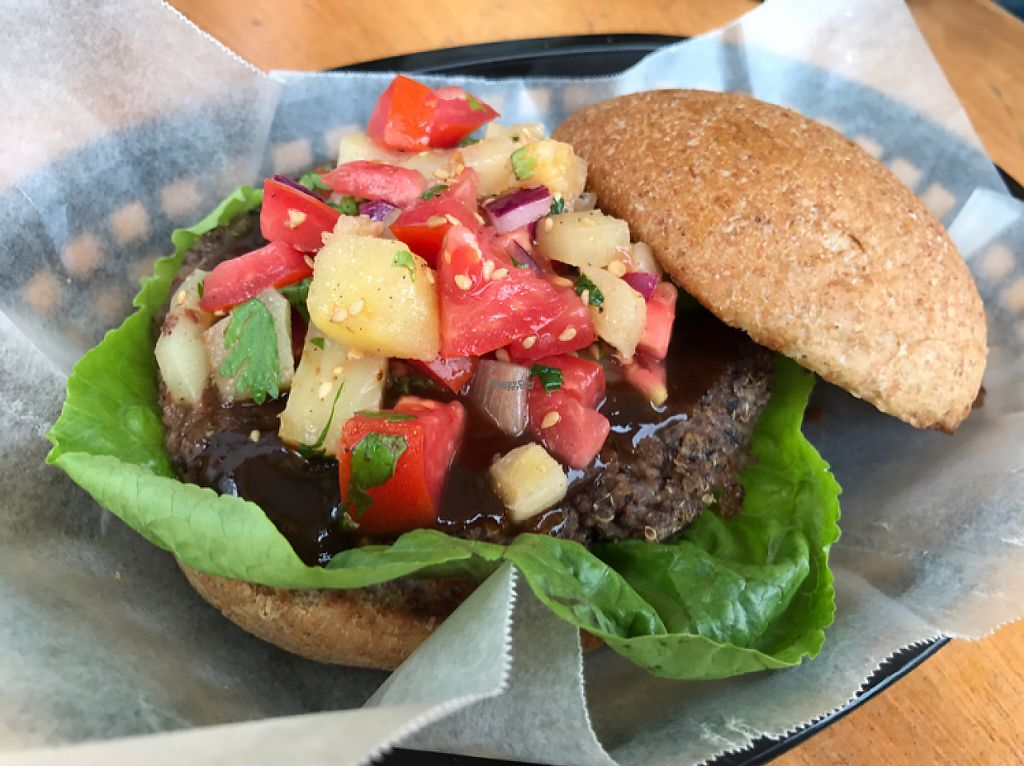 """Photo of CLOSED: Roots Wraps and Smoothies  by <a href=""""/members/profile/RainaNaomi"""">RainaNaomi</a> <br/>BBQ Burger  <br/> February 4, 2017  - <a href='/contact/abuse/image/45522/222521'>Report</a>"""