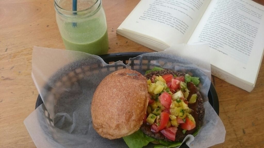 """Photo of CLOSED: Roots Wraps and Smoothies  by <a href=""""/members/profile/JessicaD."""">JessicaD.</a> <br/>Black Beans Quinoa Pineapple Burger  <br/> April 7, 2017  - <a href='/contact/abuse/image/45522/245532'>Report</a>"""