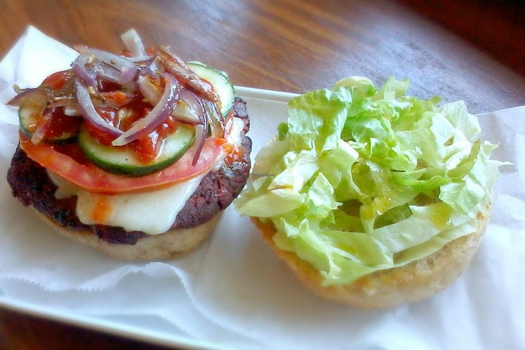 """Photo of CLOSED: Roots Wraps and Smoothies  by <a href=""""/members/profile/RevRoots"""">RevRoots</a> <br/>The Beefless Burger <br/> March 2, 2014  - <a href='/contact/abuse/image/45522/65098'>Report</a>"""
