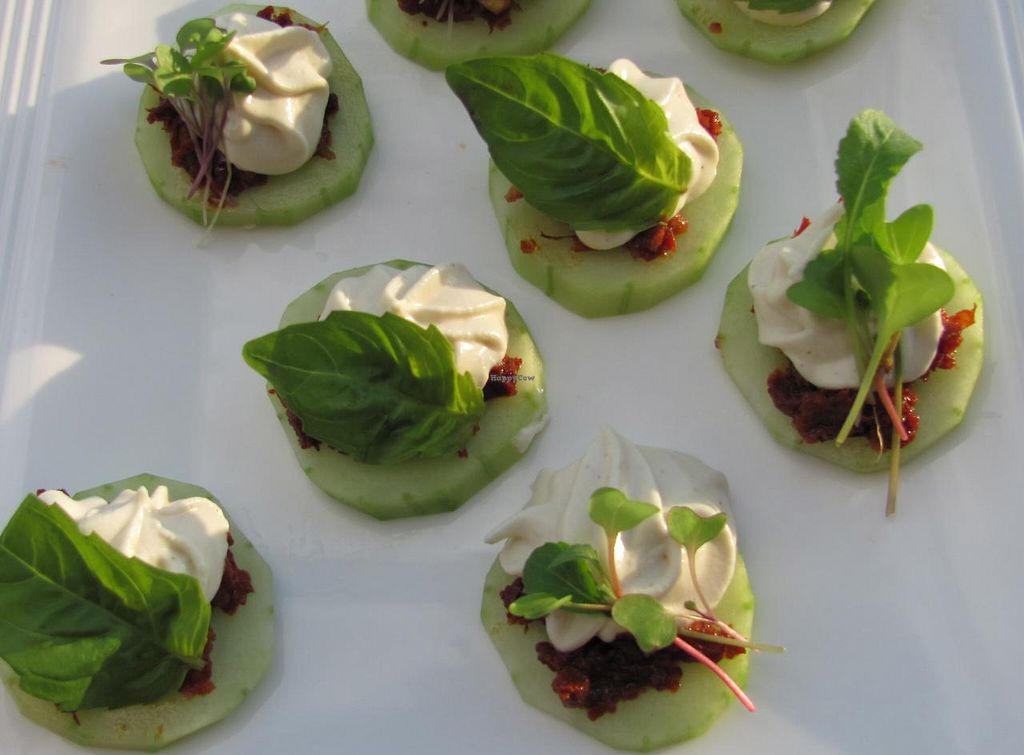 "Photo of Revolution in the Kitchen  by <a href=""/members/profile/kitchen%20queen"">kitchen queen</a> <br/>Raw Mediterannean Cucumber Rounds: herbed sundried pesto, pine nut mousse, microgreens and fresh basil <br/> February 25, 2014  - <a href='/contact/abuse/image/45538/64811'>Report</a>"